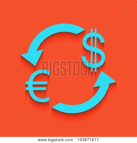 Currency exchange sign. Euro and US Dollar. Vector. Whitish icon on brick wall as background.