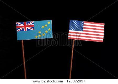 Tuvalu Flag With Usa Flag Isolated On Black Background