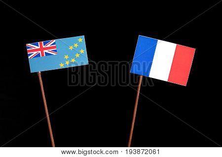 Tuvalu Flag With French Flag Isolated On Black Background
