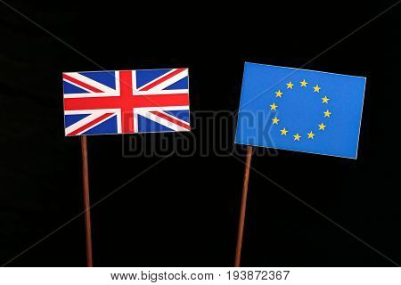 British Flag With European Union (eu) Flag Isolated On Black Background