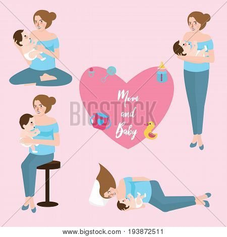 mom baby breast feeding infant care position love shape vector