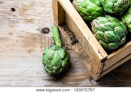 Artichoke. Box Of Fresh Artichoke. Harvest Concept. Copy Space