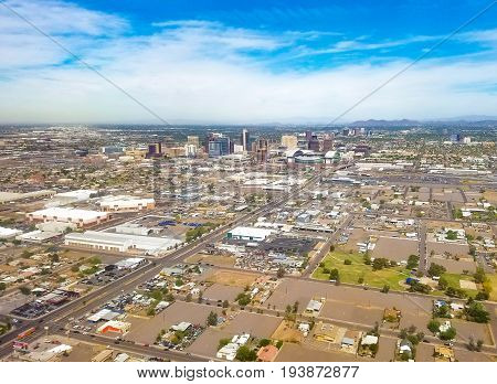 Downtown Phoenix Arizona USA. Phoenix is the capitol of Arizona located in the Valley of the Sun.