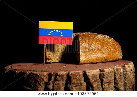 Venezuelan Flag On A Stump With Bread Isolated