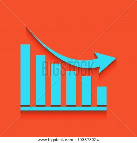 Declining graph sign. Vector. Whitish icon on brick wall as background.