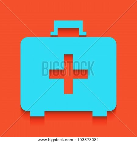 Medical First aid box sign. Vector. Whitish icon on brick wall as background.