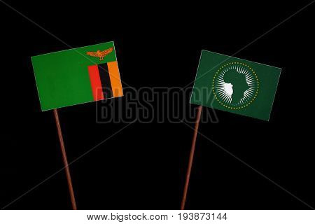 Zambia Flag With African Union Flag Isolated On Black Background