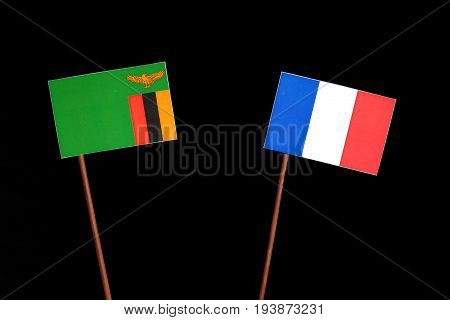 Zambia Flag With French Flag Isolated On Black Background