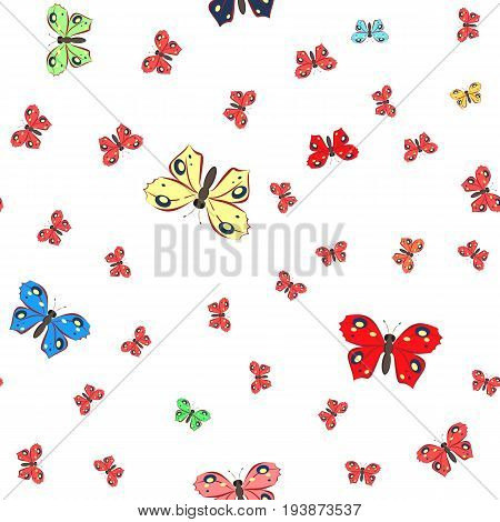 Seamless pattern with butterflies on white backgraund
