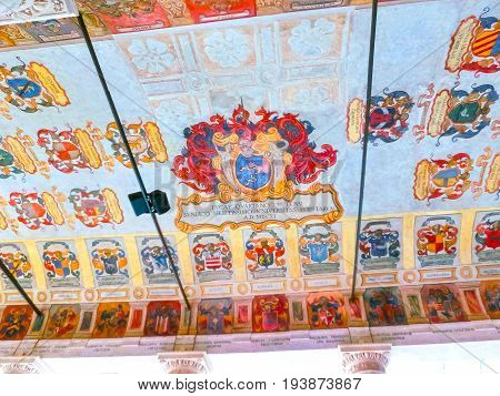 Padua, Italy - September 19, 2014: Ceiling with family coats of arms at Palazzo Bo, historical building home of the Padova University from 1539, in Padua, Italy on September 19, 2014: