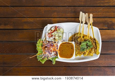 Top View,chicken Satay Grilled Meat