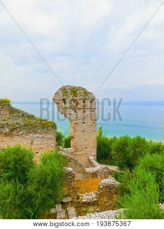 Ruins of Catullus Caves, roman villa in Sirmione, Garda Lake, Italy