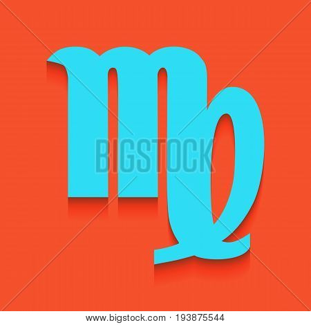 Virgo sign illustration. Vector. Whitish icon on brick wall as background.
