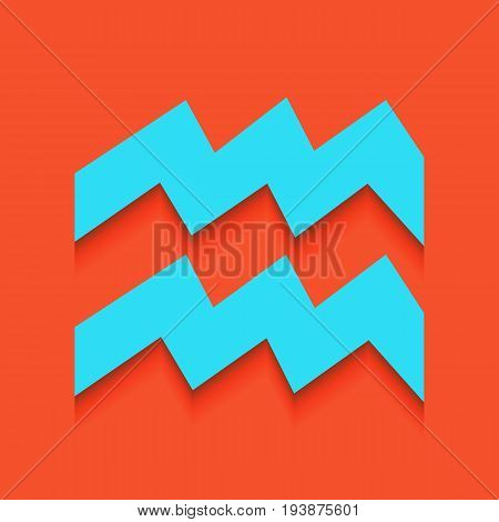 Aquarius sign illustration. Vector. Whitish icon on brick wall as background.