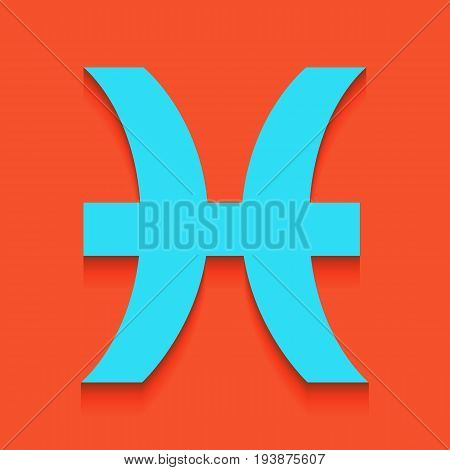 Pisces sign illustration. Vector. Whitish icon on brick wall as background.