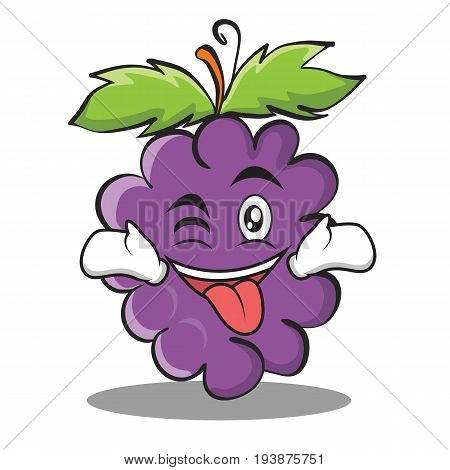 Tongue out with wink grape character cartoon collection vector