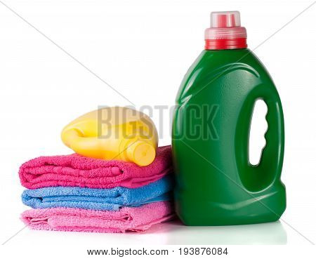 bottle laundry detergent and conditioner or fabric softener with towels isolated on white background.
