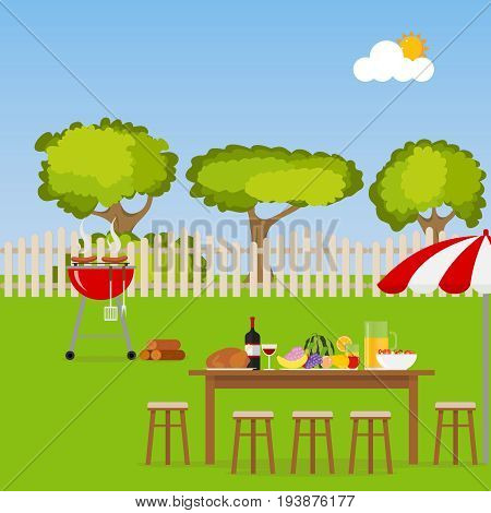 Camping. A table with food and a grill. Grilling sausages on the grill. BBQ area. Flat design vector illustration vector.