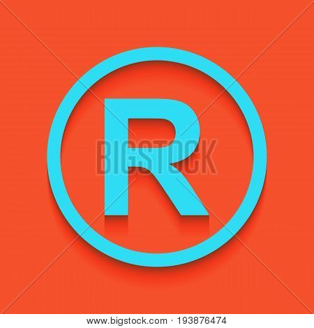 Registered Trademark sign. Vector. Whitish icon on brick wall as background.