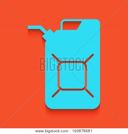 Jerrycan oil sign. Jerry can oil sign. Vector. Whitish icon on brick wall as background.