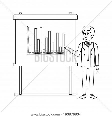 monochrome silhouette of businessman in formal suit with necktie making presentation vector illustration