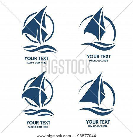 elegant set of Sailing boat logo vector, Sailing boat sport logo