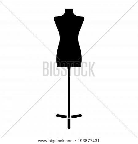 Fashion stand, female torso mannequin the black color icon .