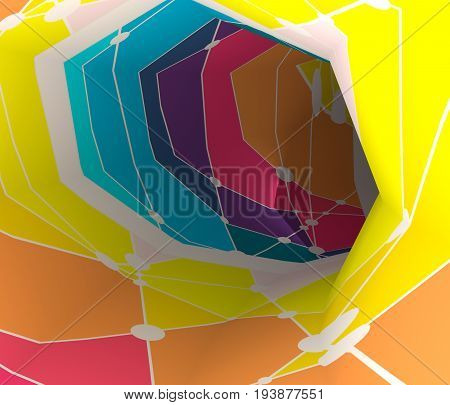 Abstract futuristic 3D speed tunnel warp. Mosaic texture. 3D rendering