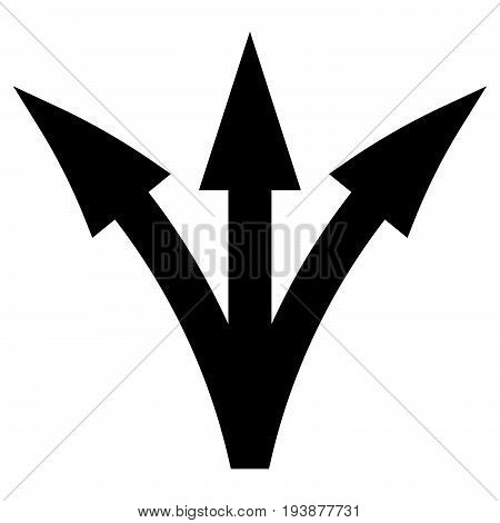 Three Way Direction Arrow The Black Color Icon .