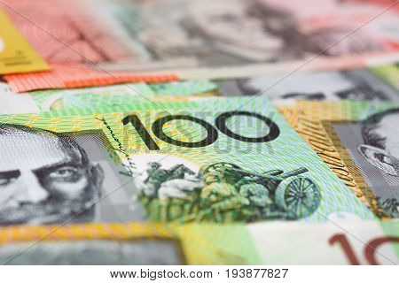 Close up of 100 Australian dollar (AUD) banknote