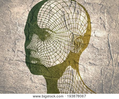 Head of the person from a 3d Grid. Human head wire model. 3D geometric face design. Polygonal covering skin. Grunge distress texture.