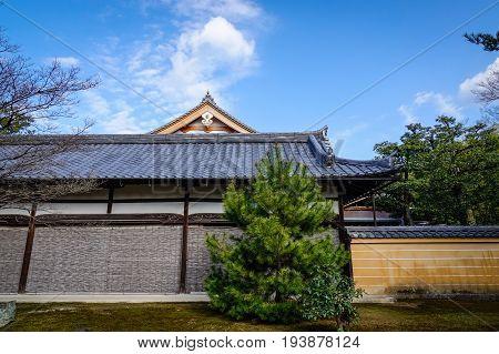 Ancient Palace At Sunny Day In Kyoto, Japan