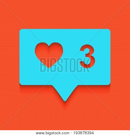 Like and comment sign. Vector. Whitish icon on brick wall as background.