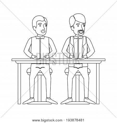 monochrome silhouette of men sitting in desk one with casual clothes and the other with formal clothes and van dyke beard vector illustration