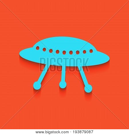 UFO simple sign. Vector. Whitish icon on brick wall as background.