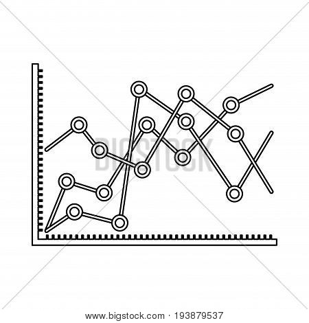 monochrome silhouette of statistical graphs linear rising vector illustration