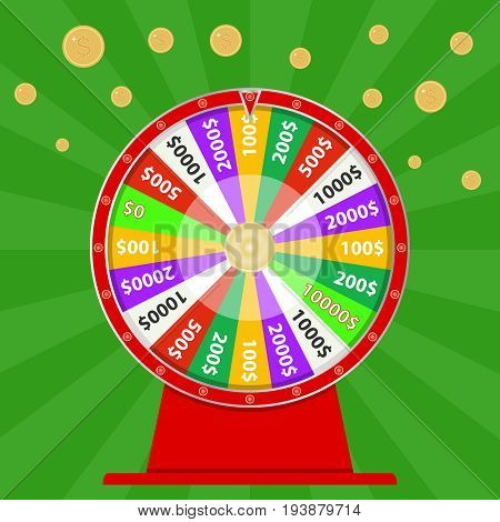 Spinning wheel of fortune win money try your luck. Flat design vector illustration vector.