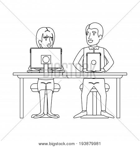 monochrome silhouette of teamwork of woman and man sitting in desk with tech devices and her with ponytail hairstyle and him in casual clothes vector illustration