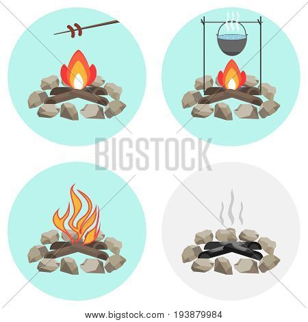 Bonfire a pot on the fire fry the sausage at the stake ashes coals firewood. Flat design vector illustration vector.