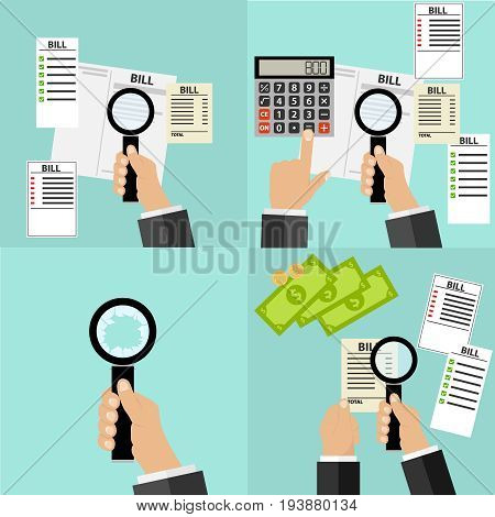 Bills receipts set a set of bills utilities magnifying glass in hand. A large set of hands with a magnifying glass. Flat design vector illustration vector.