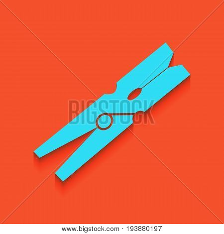 Clothes peg sign. Vector. Whitish icon on brick wall as background.