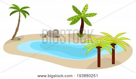 Lake with palm trees a lake icon an oasis in the desert palm trees. Fencing of a museum exhibit. Flat design vector illustration vector.