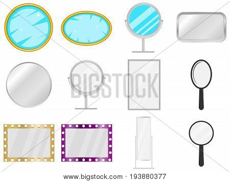 Mirror mirror icon piece of furniture to look. Big set of the mirror. Flat design vector illustration vector.