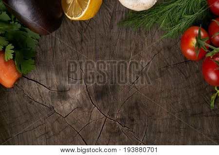 Top view of a Vegetables. View from above of a Fresh vegetables. Colorful vegetables background with copy space. Healthy vegetable studio photo. Assortment of fresh vegetables close up. Detox concept