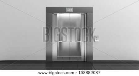 Elevator With Open Doors. 3D Illustration