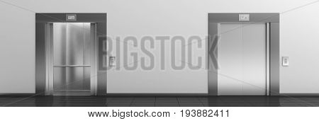 Elevators With Open And Closed Doors. 3D Illustration