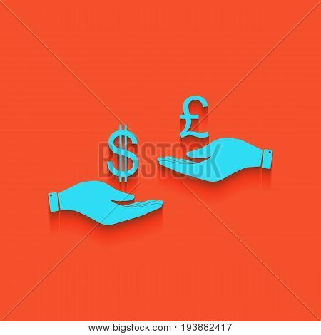 Currency exchange from hand to hand. Dollar and Pound. Vector. Whitish icon on brick wall as background.