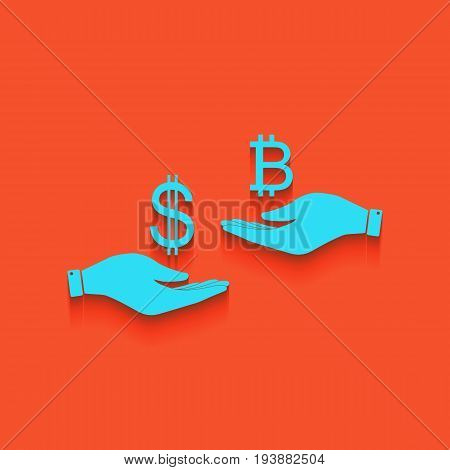Currency exchange from hand to hand. Dollar and Bitcoin. Vector. Whitish icon on brick wall as background.