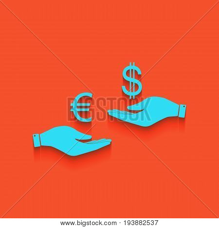 Currency exchange from hand to hand. Euro and Dollar. Vector. Whitish icon on brick wall as background.