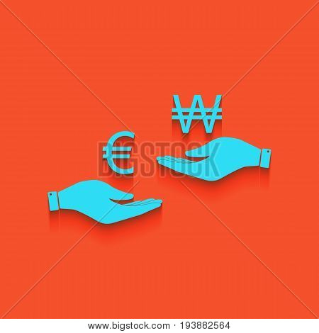 Currency exchange from hand to hand. Euro and Won. Vector. Whitish icon on brick wall as background.